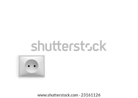 The electric socket in on white in the corner, clipping path