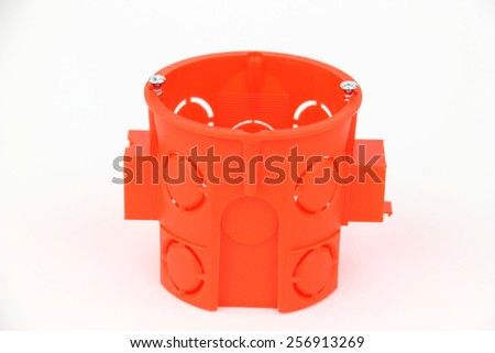 The electrical boxes on the white background - stock photo