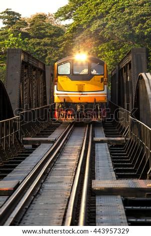 The electricity illuminates on railway river Kwai bridge Kanchanaburi province. - stock photo