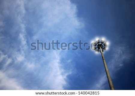 the electricity post ,blue sky and clouds