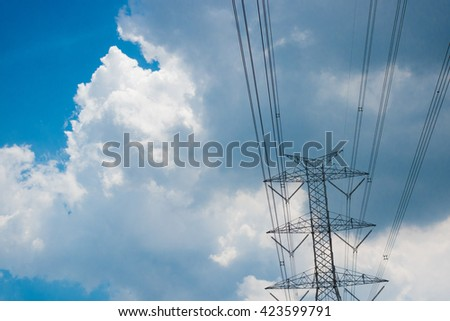 The electricity stand in the blue sky