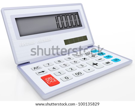 The electronic calculator on a solar energy for mathematical calculations 3d