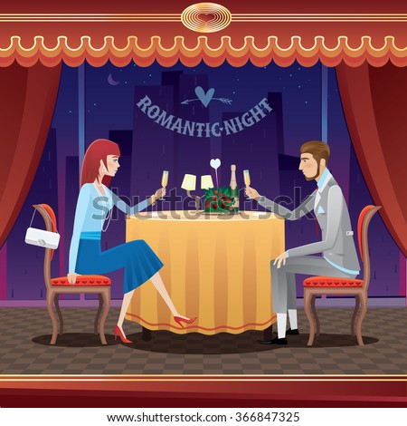 The elegant couple sitting at restaurant in the evening and drinking champagne - anniversary concept. Raster version of illustration - stock photo