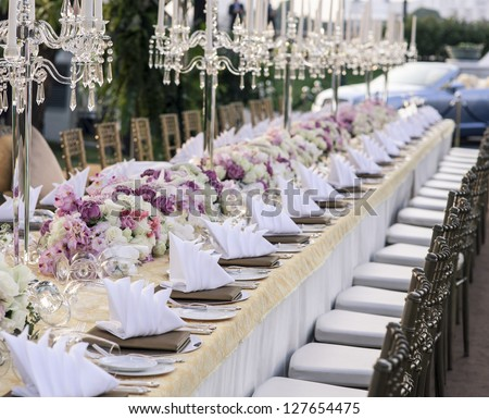 The elegant dinner table. - stock photo