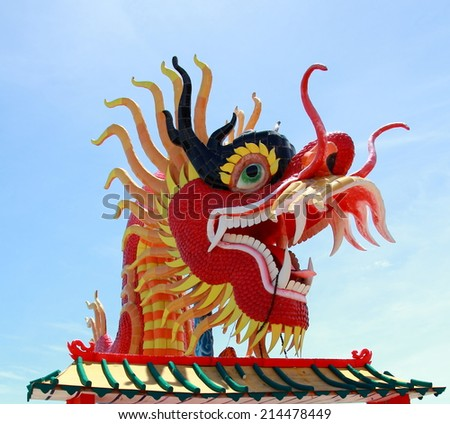 The Elegant Dragon on the sky at chinese temple in Thailand.