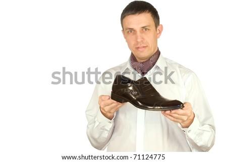 The elegant man always chooses the best model of footwear - stock photo