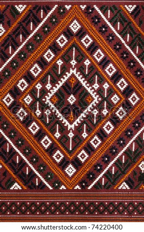 The Elegant Thai art on hand-woven fabrics - stock photo