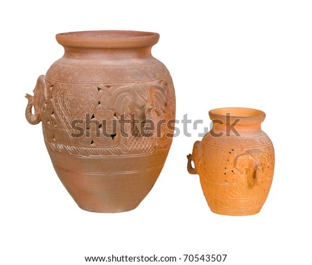 The elephant figures on the ancient pots, the nice sculpture of handmade clay and pottery, an image isolated on white