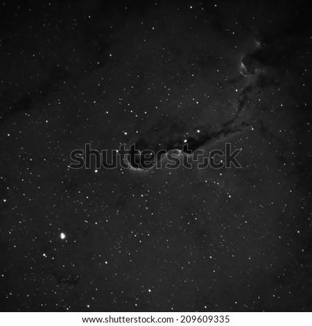 The Elephant Trunk Nebula Imaged in Hydrogen Alpha - stock photo