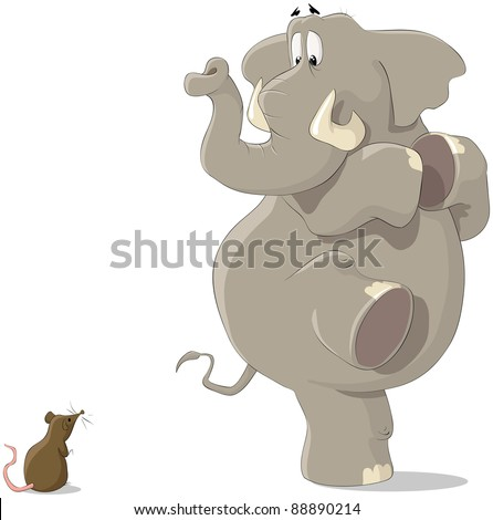 The elephant was frightened of a small mousy, raster - stock photo