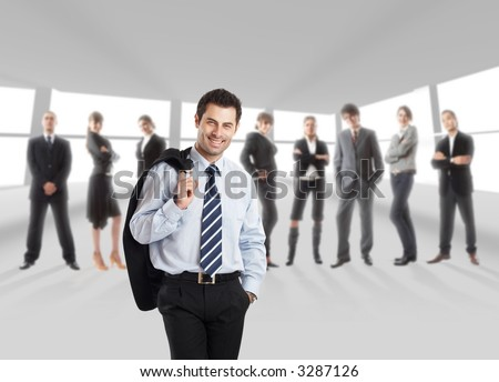 The elite business team with Team Leader in front - in office environment - check my gallery for more business photos - stock photo