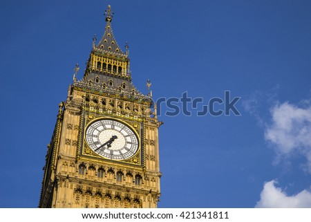 The Elizabeth Tower, which contains the iconic bell named Big Ben, at the Houses of Parliament in London.