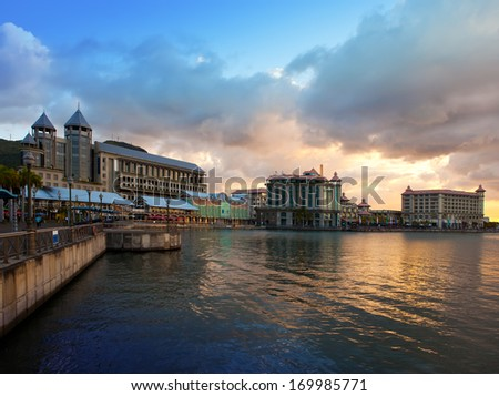 The embankment at sunset, Port-Louis- capital of Mauritius  - stock photo