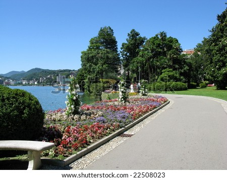 The Embankment in the Exotic Park of Lugano. Switzerland.