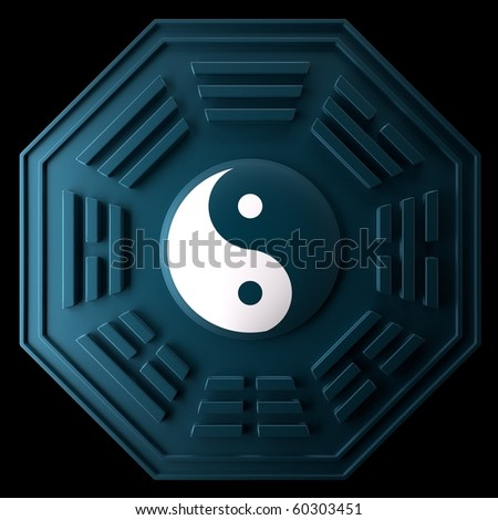 The emblem of Yin and Yang. White and Black - stock photo
