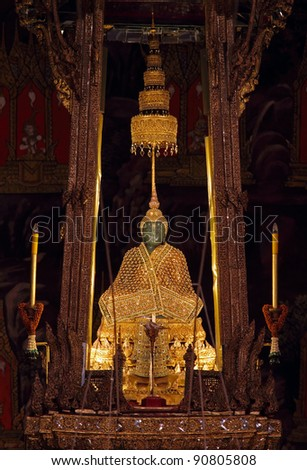 The Emerald Buddha in the temple of Wat Phra Kaeo at the Grand Palace in Bangkok, Thailand. - stock photo