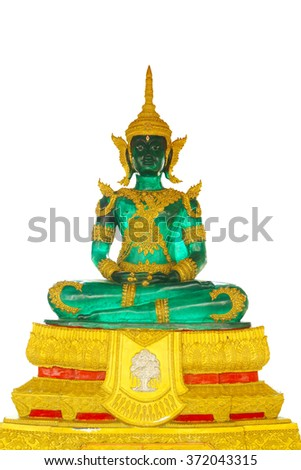 The Emerald Buddha on White Wall, Thailand. - stock photo