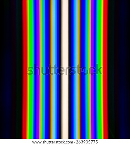 The emission spectrum of a fluorescent lamp produced by the diffraction grating (color temperature of the lamp 6400 K) - stock photo