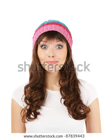 the emotional girl in the hat surprised