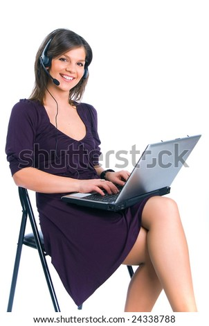 The employee call center with notebook computer - stock photo