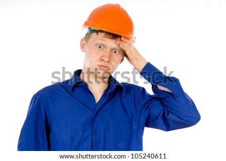 the employee tired isolated on white background - stock photo