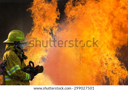 The Employees Annual training Fire fighting - stock photo