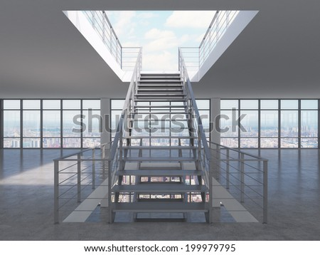 The empty apartment or office space with big panoramic windows and the second floor.  - stock photo