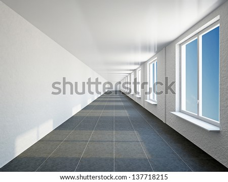 The empty big corridor with  white wall