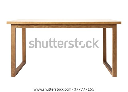 The empty(blank, vacant, hollow) wood(birch, ply) table(desk) with no food, no people isolated white at the studio. - stock photo