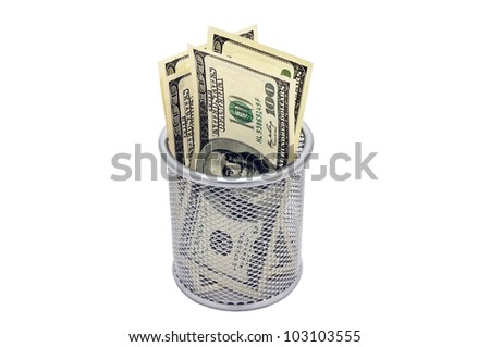 The Empty container and banknotes dollar