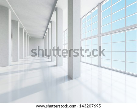 The empty corridor with columns and large windows - stock photo