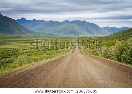 The empty Dempster Highway in the Yukon.