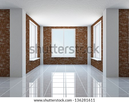 The empty hall with brick wall and windows - stock photo