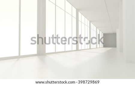 The empty long corridor 3d room - stock photo
