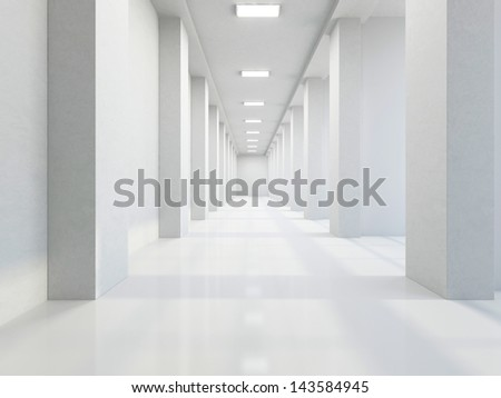 The empty long corridor with large columns
