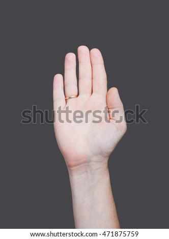 the empty open man hand on grey background