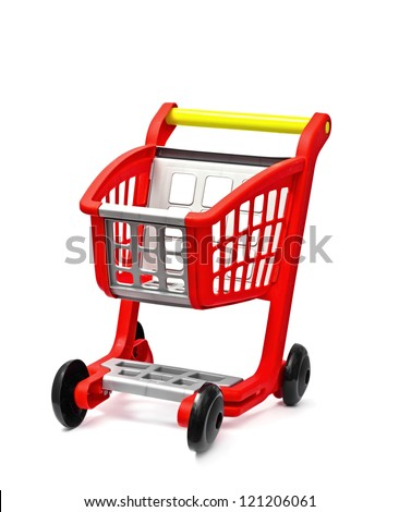 The empty red cart for purchases on the white - stock photo