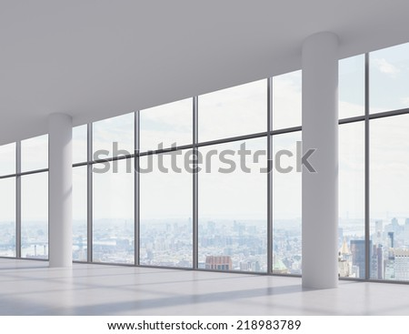 The empty room with big panoramic window  - stock photo
