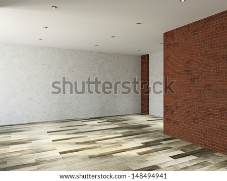 The empty room with  brick dirty wall  - stock photo