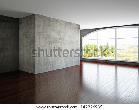 The empty room with old wall and a window - stock photo