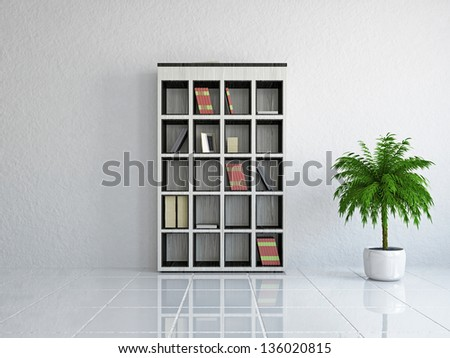 The empty room with plant near the wall - stock photo