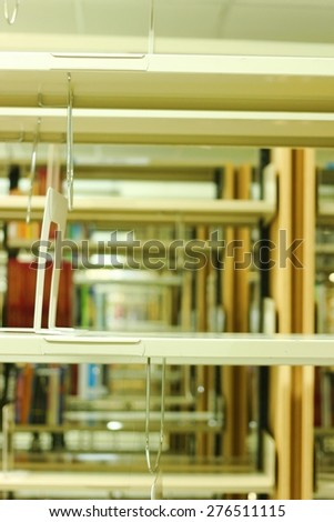 The empty shelf in library - stock photo