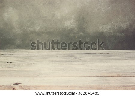 the empty wooden table - stock photo