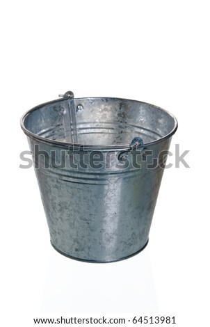 The empty zinced bucket a close up is isolated on white - stock photo