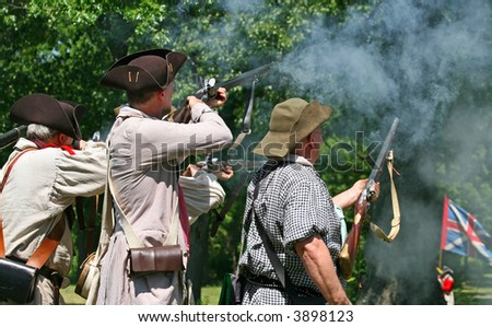 The enactment - The Battle of Monmouth in New Jersey - stock photo