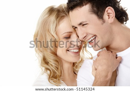 The enamoured laugh on a white background - stock photo