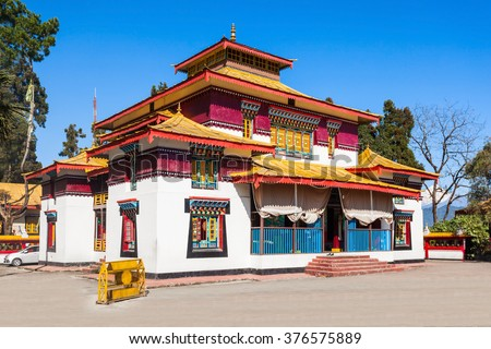 The Enchey Monastery is a Vajrayana Buddhism monastery in Sikkim, India - stock photo