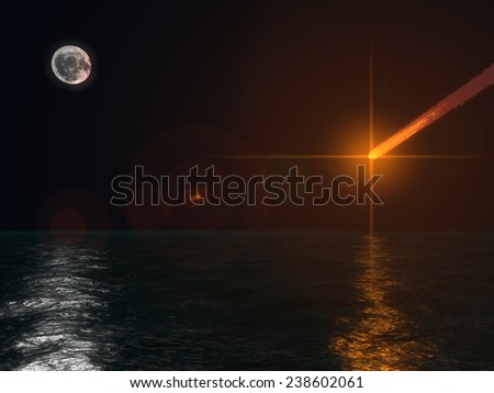 the end.(armageddon scene,meteor falling to ocean) - stock photo