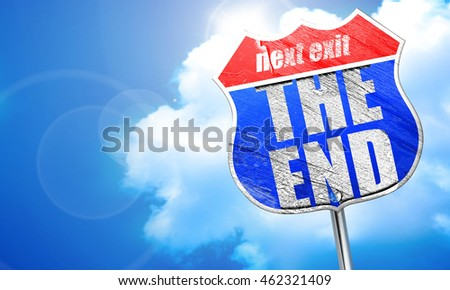 the end, 3D rendering, blue street sign