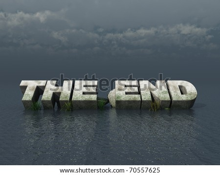 the end monument at the ocean - 3d illustration - stock photo